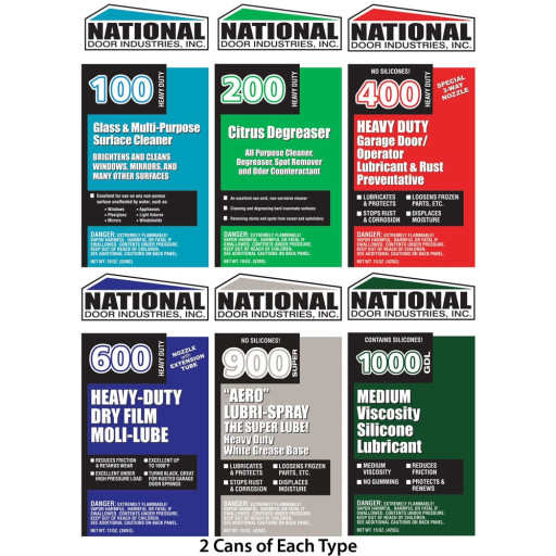 National Lube Sampler 100/200/400/900/600/1000 Large Cans (2 Cans Each) (12 Total)