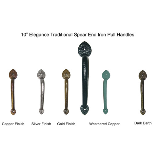 10 in. Elegance Traditional Iron Pull Handles Carriage House Hardware