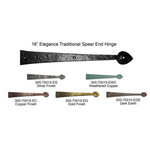 16 in. Elegance Traditional Spear End Iron Hinges Carriage House Hardware