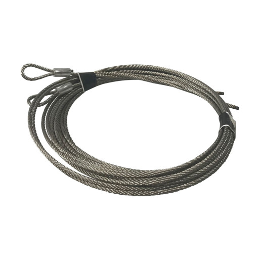 Garage Door Stainless Steel EXTENSION Spring Cables 1/8 Inch 12ft 6 Inch w/ Loop ( 7 x 7 ) (7 ft. Doors)