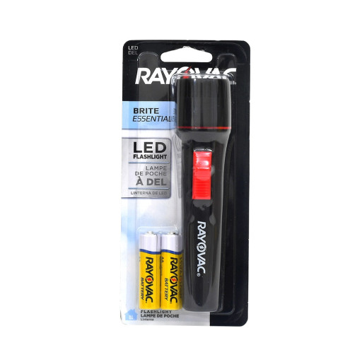 Rayovac EVB2AALED-BD Brite Essentials LED Flashlight (Black) 12 Lumens