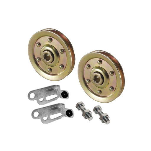 """Garage Door Pulley 3"""" and Safety Cable Guide For Extension Springs (2 Pack) (200 LB Load)"""