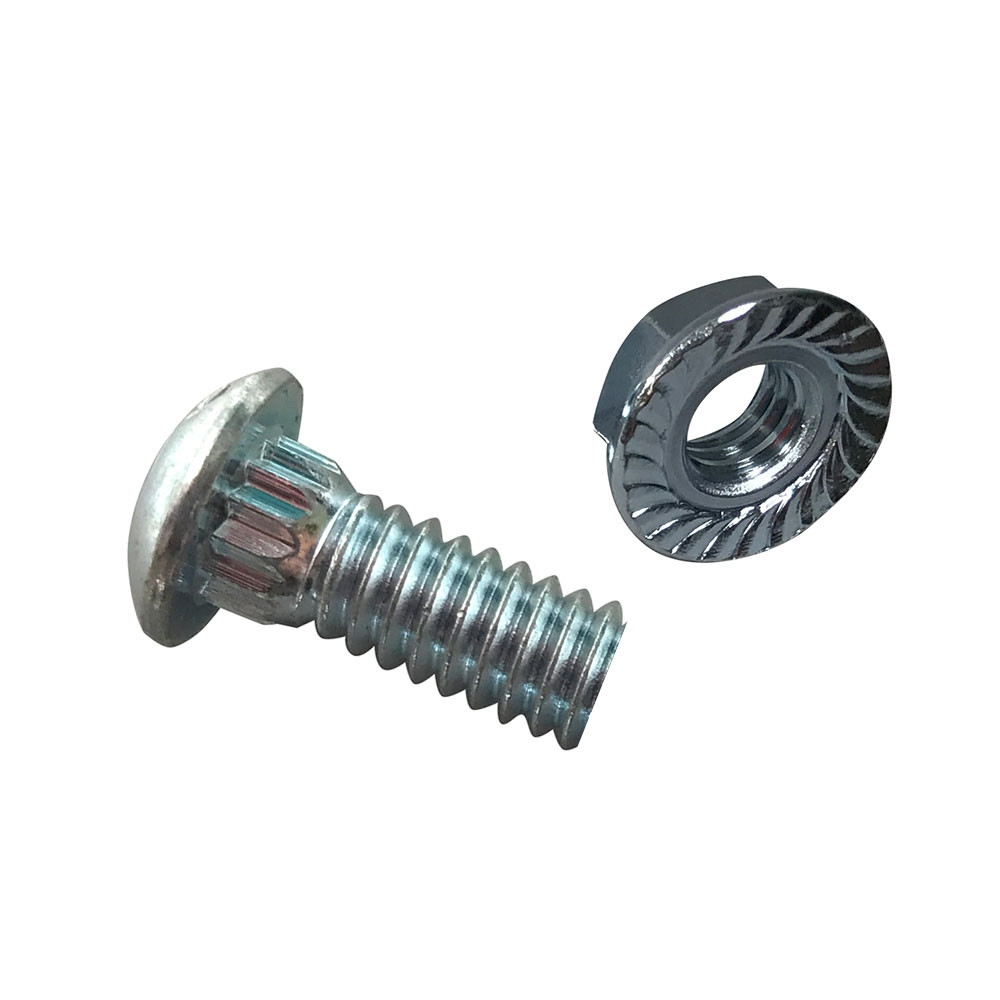 Slotted Rib Neck Garage Door Track Bolts And Serrated Flange Nuts (1/4-20)  QTY 10 Each